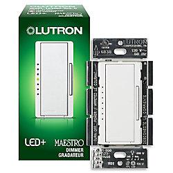 Lutron Maestro 150 Watts Unipolaire 3-Voies ou Gradateur Numérique Empl. Multiple AFC DEL - Blanc