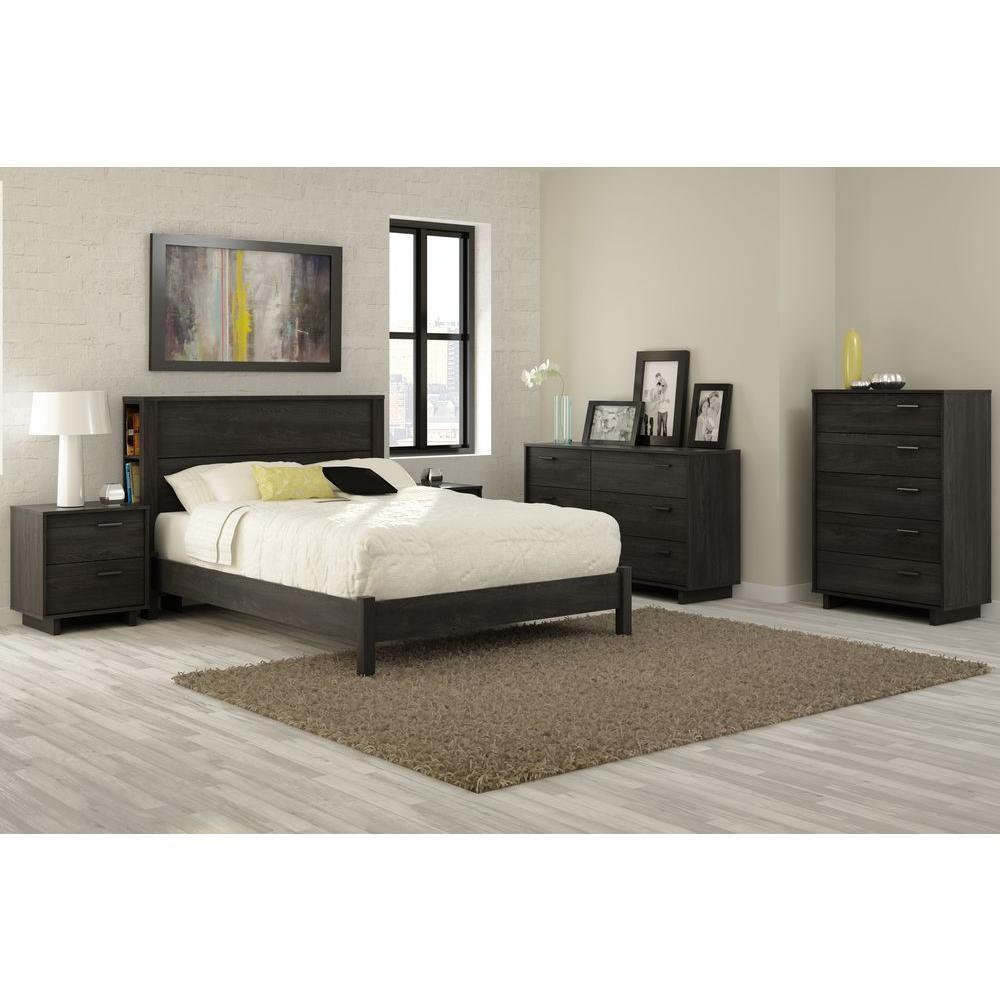 South Shore Fynn Full 78.25-inch x 58.25-inch x 13.5-inch Platform Bed in Gray Oak