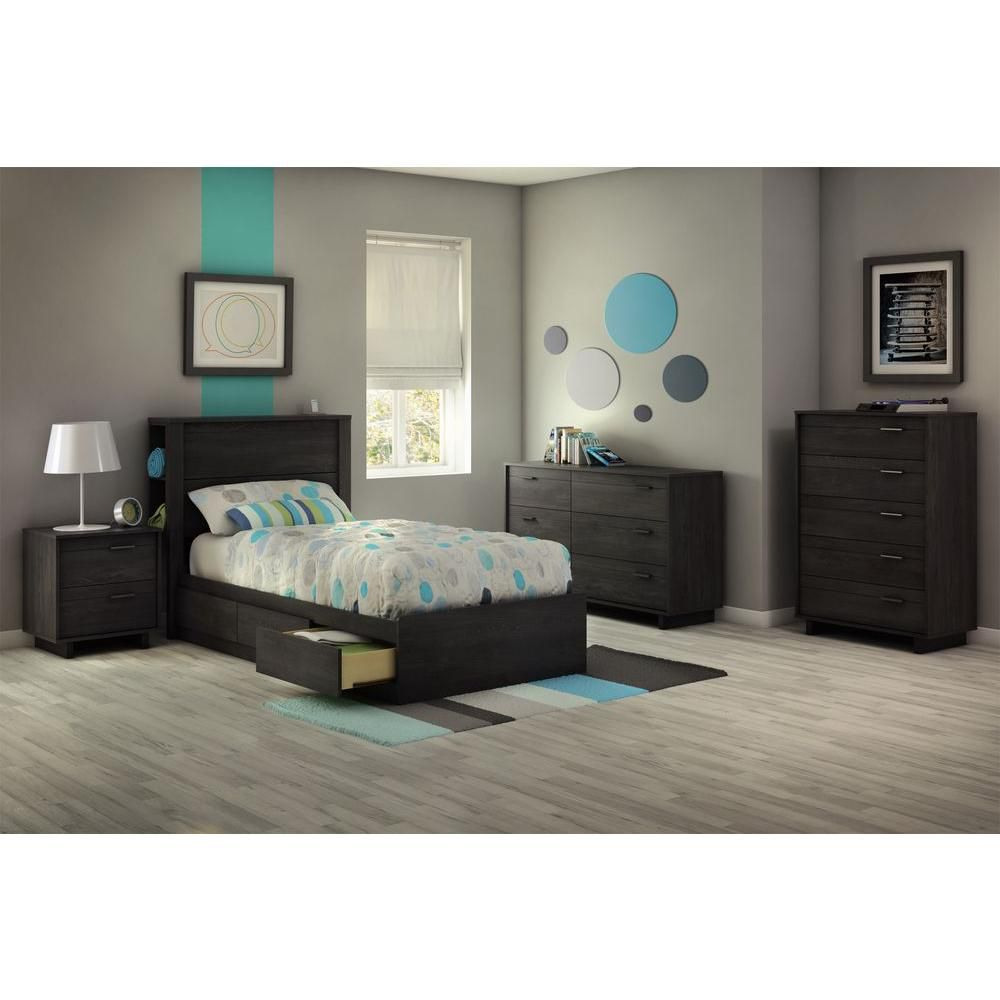 Gray twin bedroom furniture : Fynn collection twin bed gray oak canada discount
