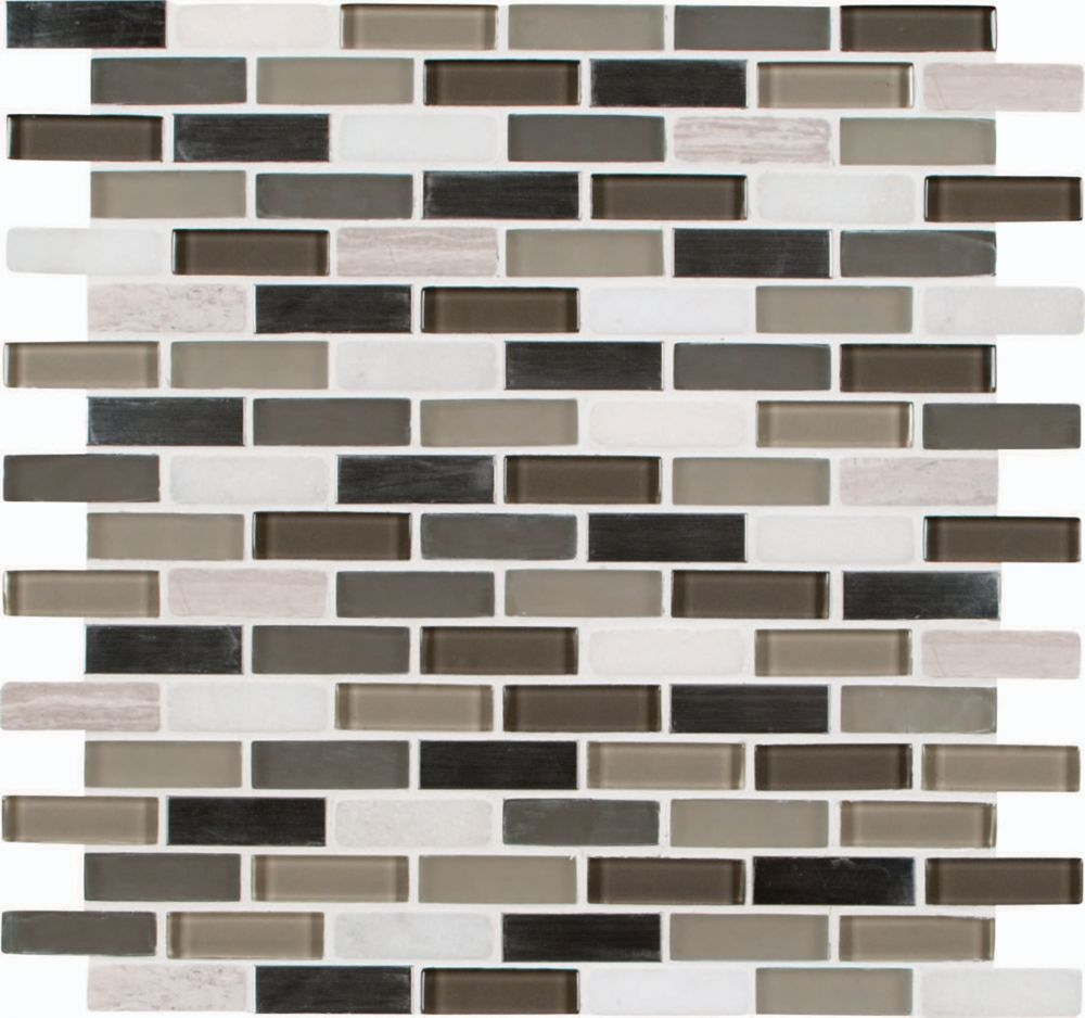 5/8-inch x 2-inch Glass/Stone/Metal Mesh-Mounted Mosaic Wall Tile in Silver Tip