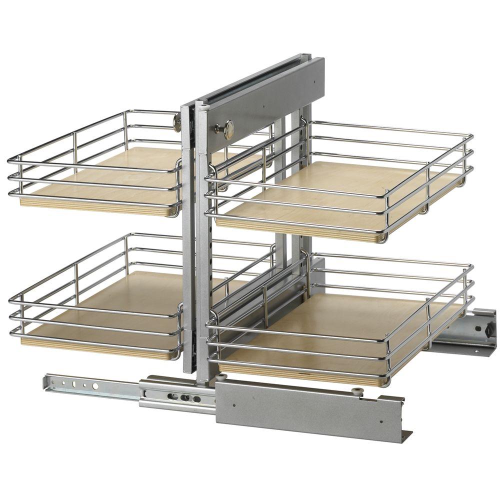 Unité sur coulisses pour armoire de plancher de coin invisible gauche - 19,75 pouces de hauteur