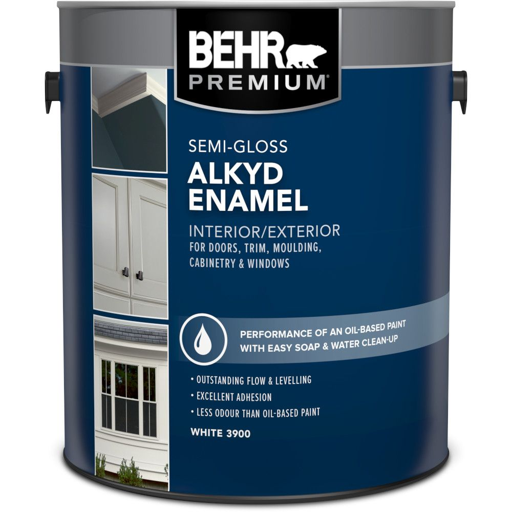 BEHR Interior/Exterior Alkyd Semi-Gloss Enamel Paint - White Base, 3.79 L