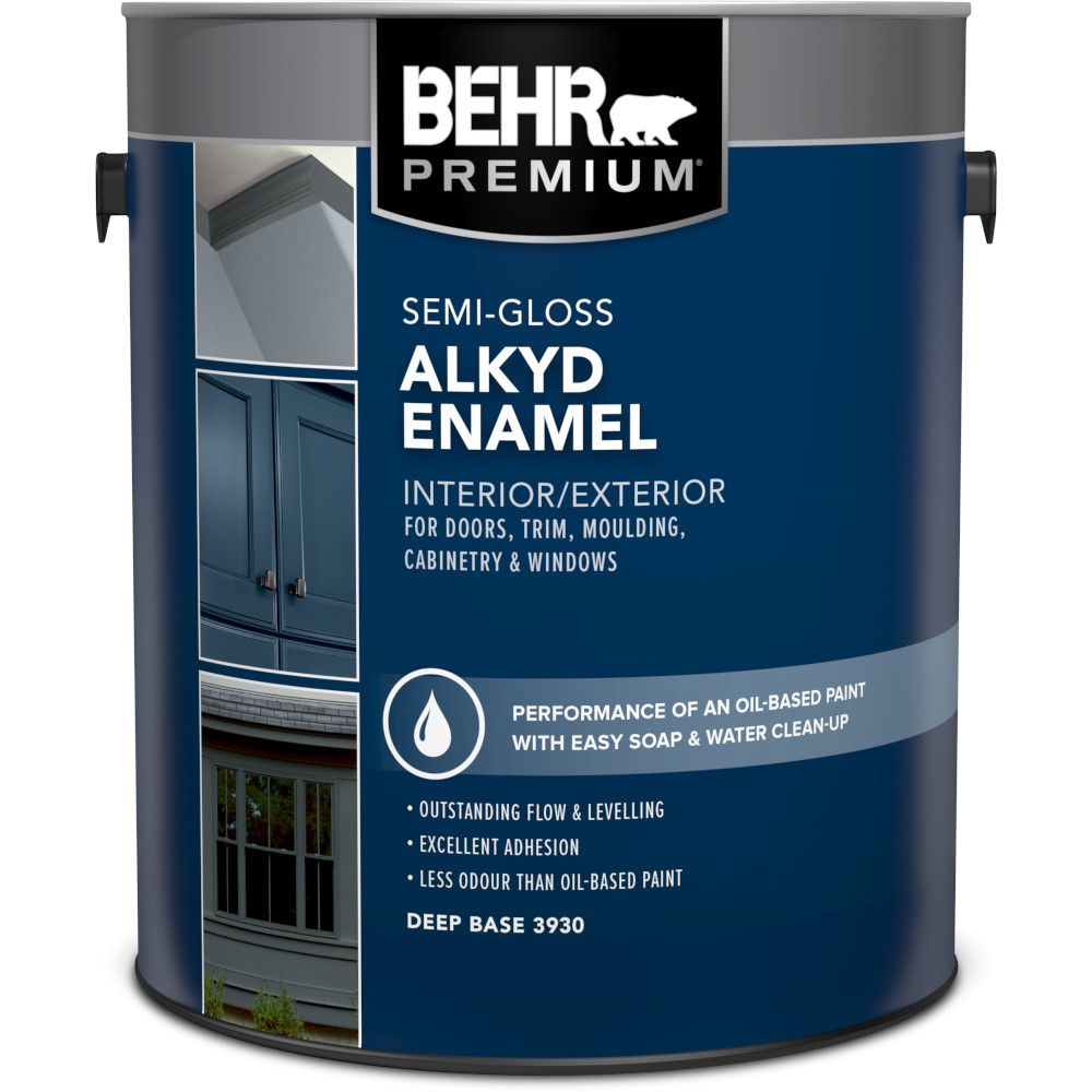 Behr Behr Interior Exterior Alkyd Semi Gloss Enamel Paint Deep Base L The Home Depot