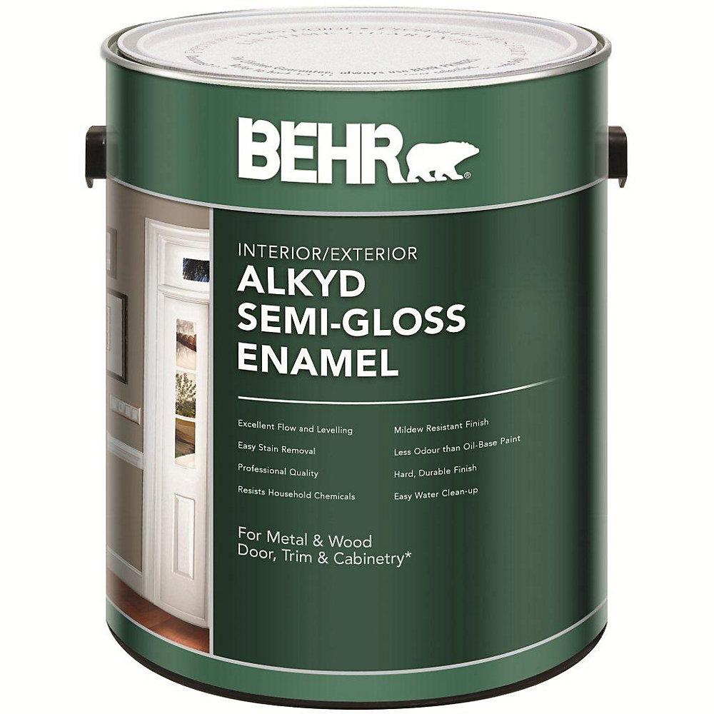 Interior/Exterior Alkyd Semi-Gloss Enamel Paint - Medium Base, 3 54 L