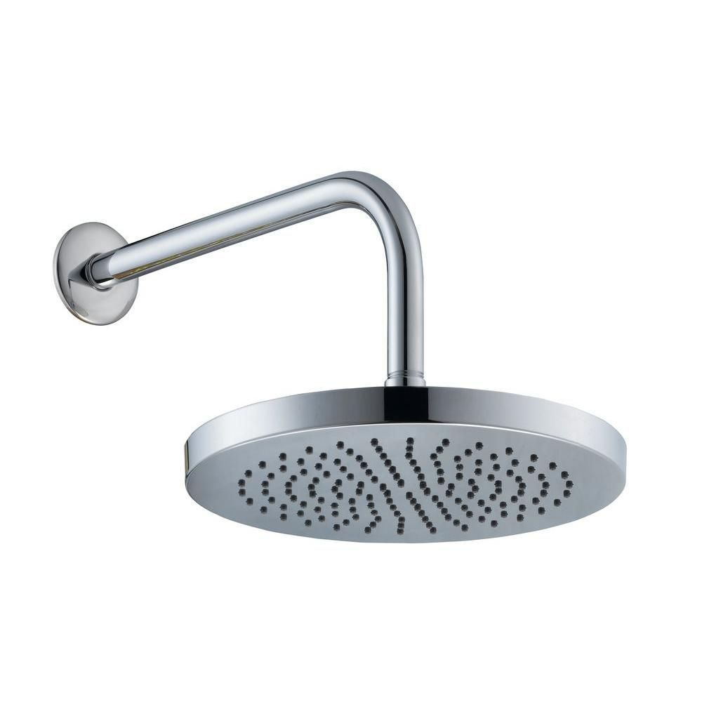10 Inch Round Showerhead With 12 Inch Stainless Steel Arm & Flange In Chrome