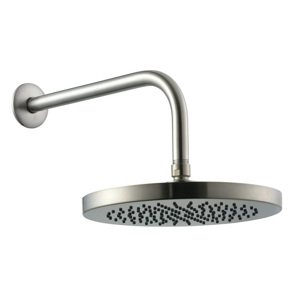 10-inch Round Showerhead with 12-inch Stainless Steel Arm & Flange in Brushed Nickel