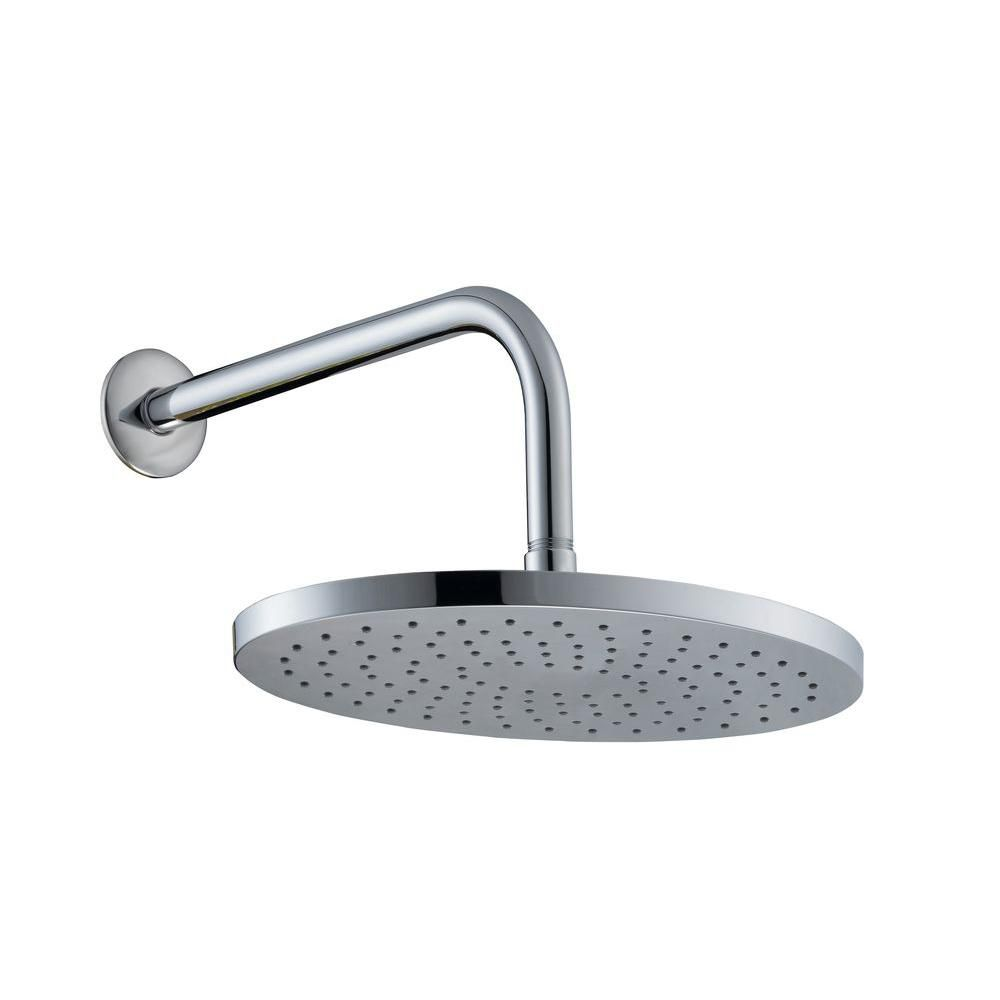10 Inch Oval Showerhead With 12 Inch Stainless Steel Arm & Flange In Chrome