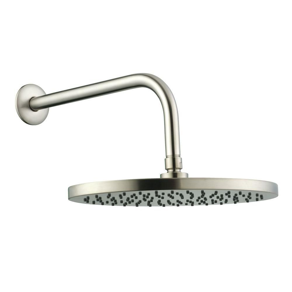 10 Inch Oval Showerhead With 12 Inch Stainless Steel Arm & Flange In Brushed Nickel