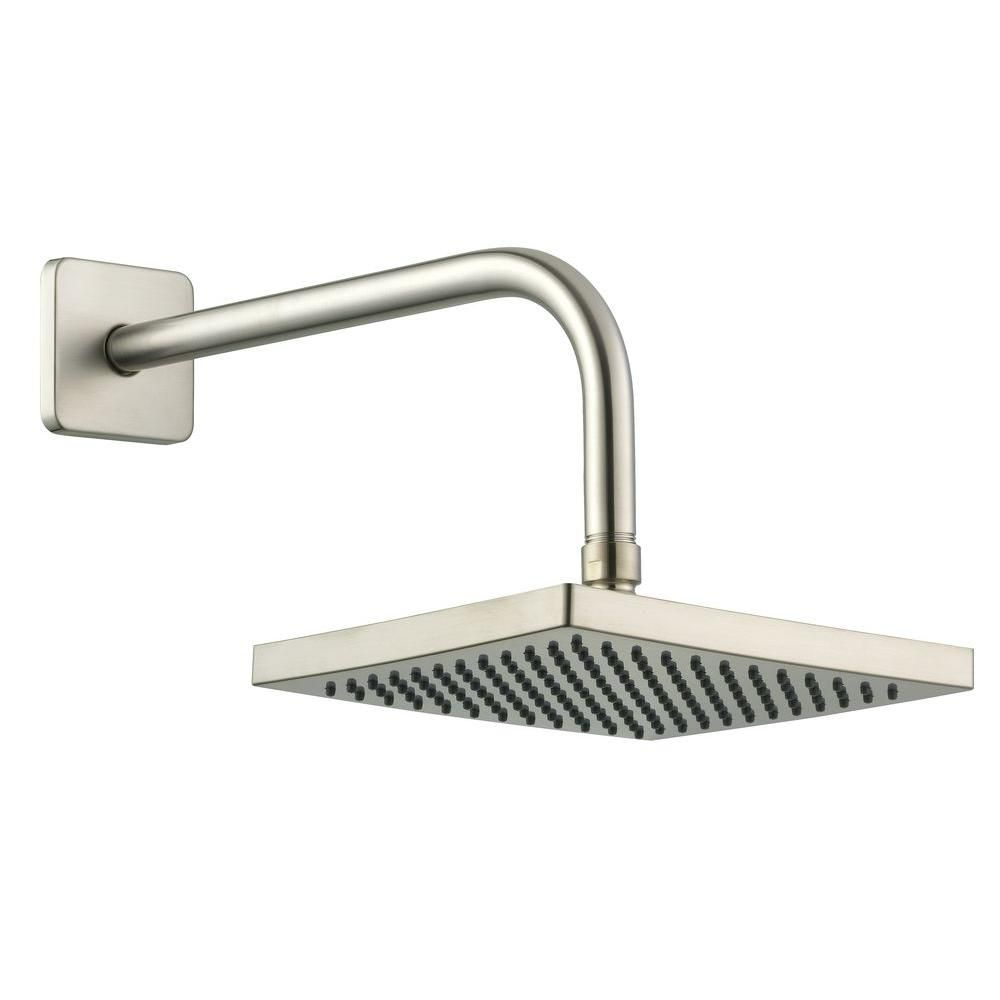 8 Inch Square Showerhead With 12 Inch Stainless Steel Arm & Flange In Brushed Nickel
