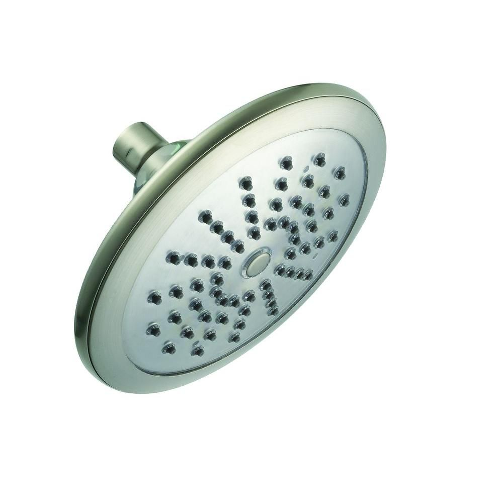 Water Powered Led Lighted Showerhead Single Functioning Brushed Nickel