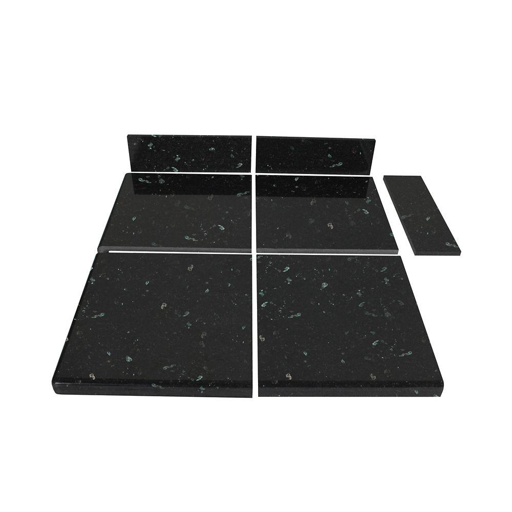 Kit d'extrémité de carreaux modulaires perle émeraude pour la cuisine