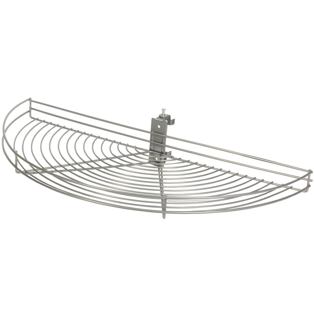 Pivot-Out Half Moon Frosted Nickel Wire Lazy Susan - 33.5 Inches Diameter