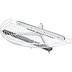 Knape & Vogt Glide-Out Half Moon White Wire Lazy Susan - 33.5 Inches Diameter
