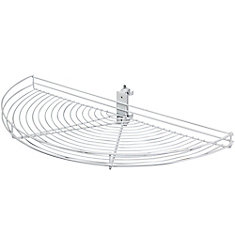 Pivot-Out Half Moon White Wire Lazy Susan - 33.5 Inches Diameter