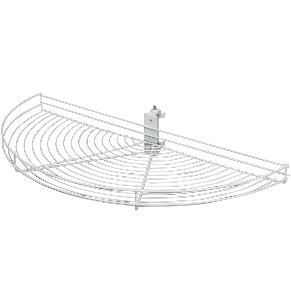 Knape & Vogt Pivot-Out Half Moon White Wire Lazy Susan - 33.5 Inches Diameter
