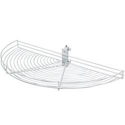 Knape & Vogt Pivot-Out Half Moon White Wire Lazy Susan - 33.5 Inches Diameter