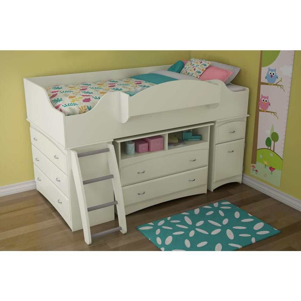 south shore imagine lit simple sur lev avec rangement blanc solide home depot canada. Black Bedroom Furniture Sets. Home Design Ideas