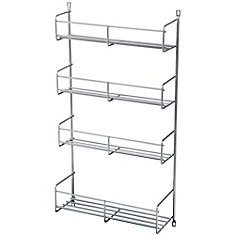 Door Mounted Frosted Nickel Spice Rack Single Pack - 10.8125 Inches Wide