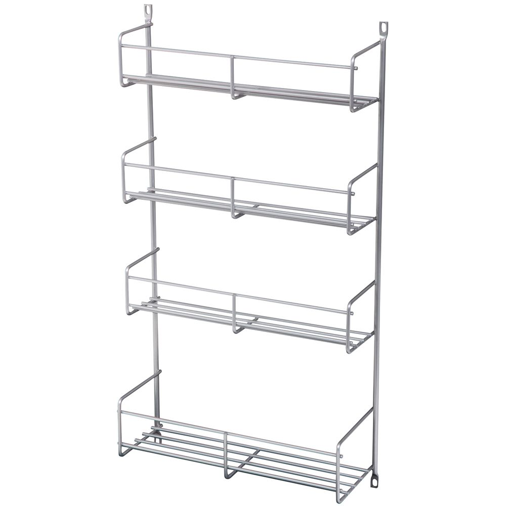 Door Mounted Frosted Nickel Spice Rack Single Pack - 13.8125 Inches Wide