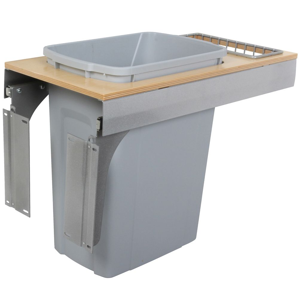 Single 35 Quart Bin Platinum Soft-Close Top-Mount Waste and Recycling Unit - 11.5 Inches Wide - Lid is not Included