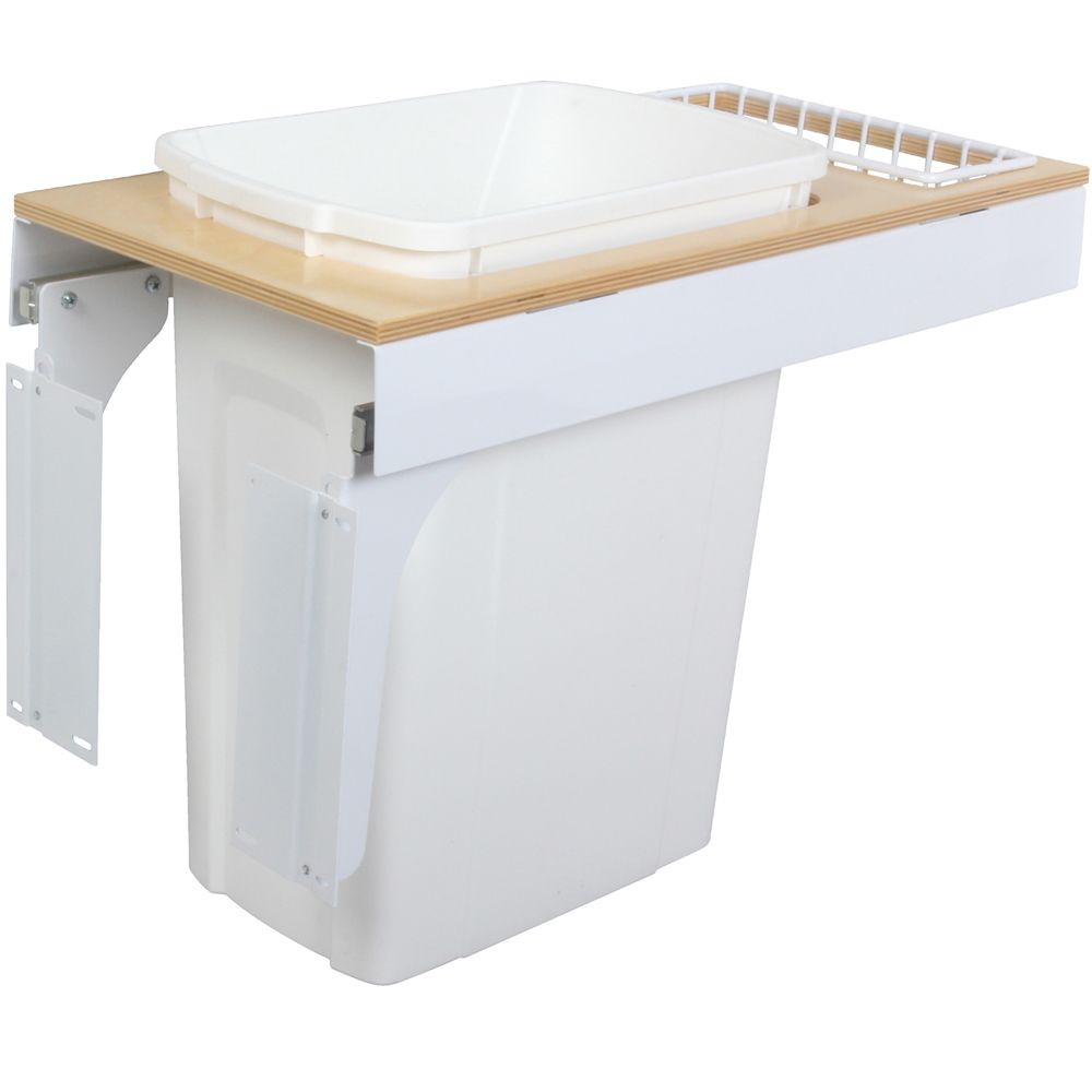 Single 35 Quart Bin White Soft-Close Top-Mount Waste and Recycling Unit - 11.5 Inches Wide - Lid ...