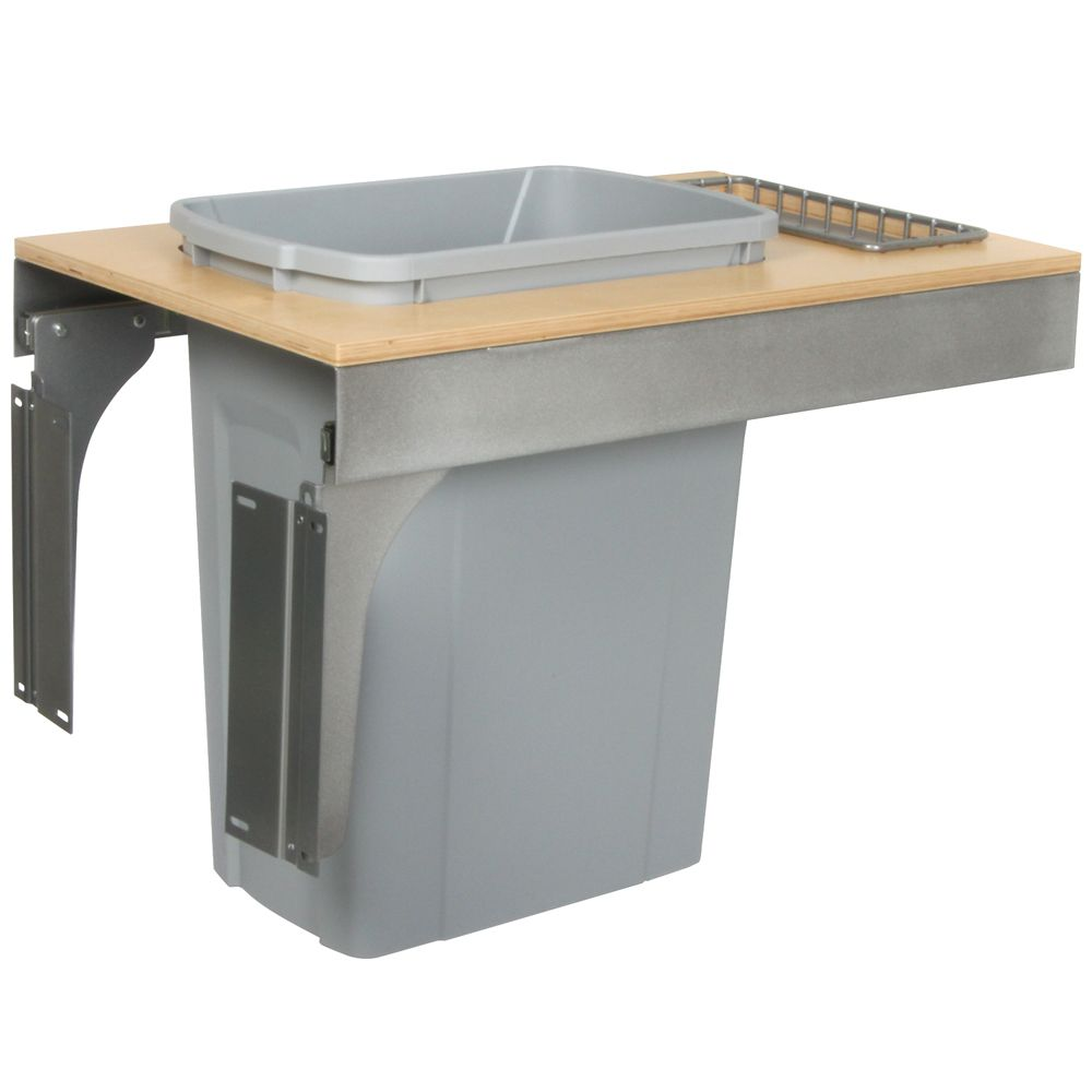 Single 35 Quart Bin Platinum Soft-Close Top-Mount Waste and Recycling Unit - 14.5 Inches Wide - Lid is not Included