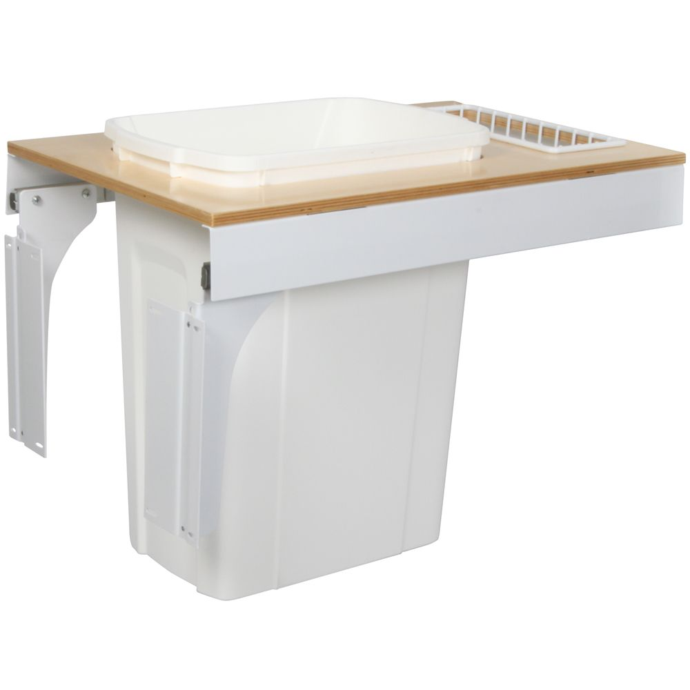 Single 35 Quart Bin White Soft-Close Top-Mount Waste and Recycling Unit - 14.5 Inches Wide - Lid ...