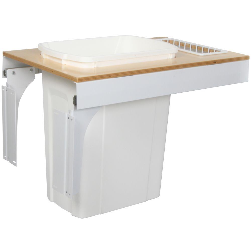 Unité à déchets et à recyclage à un contenant de 33 litres à installation par le dessus à fermetu...