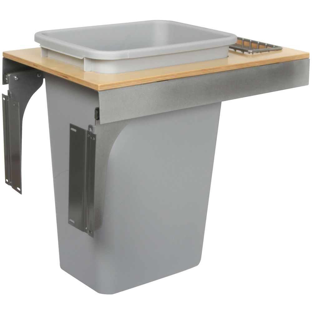 Single 50 Quart Bin Platinum Soft-Close Top-Mount Waste and Recycling Unit - 14.5 Inches Wide - Lid is not Included