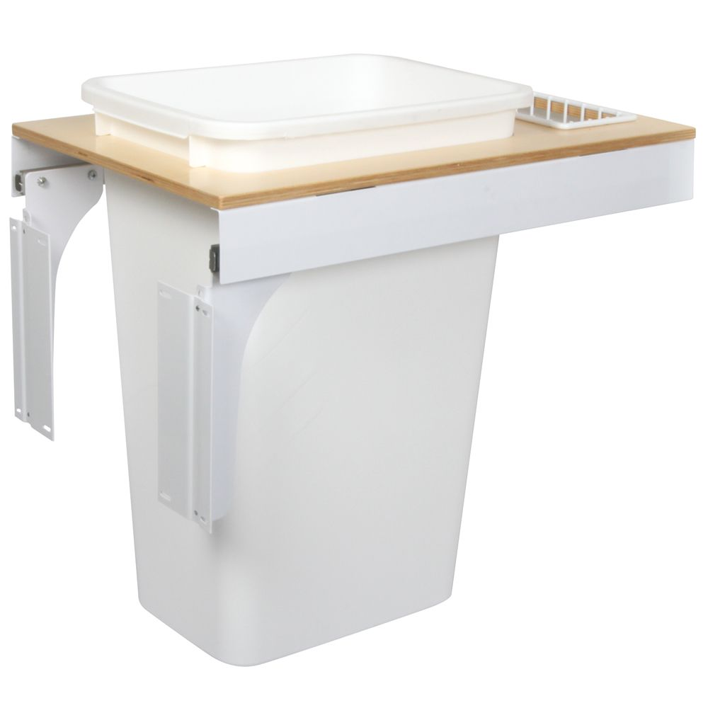 Single 50 Quart Bin White Soft-Close Top-Mount Waste and Recycling Unit - 14.5 Inches Wide - Lid ...