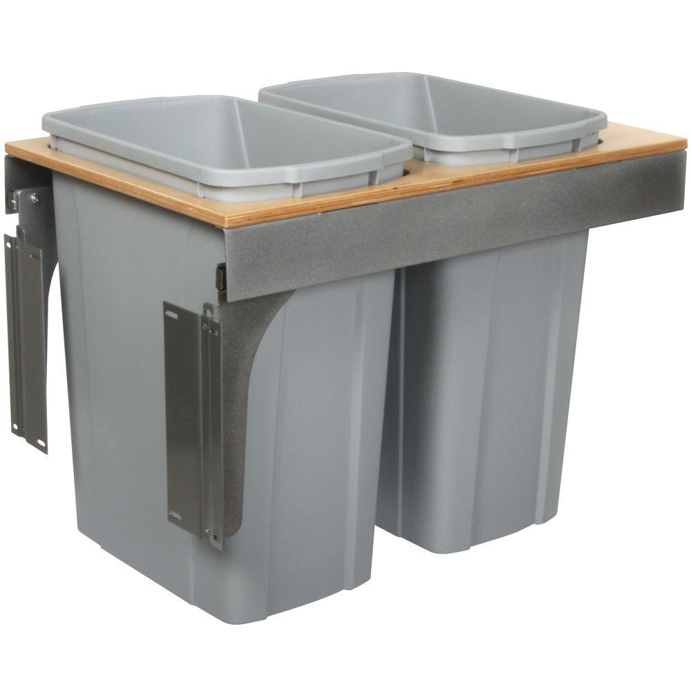 Knape & Vogt Double 35 Quart Bin Platinum Soft-Close Top-Mount Waste and Recycling Unit - 15 Inches Wide