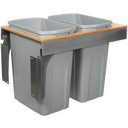 Knape & Vogt Unité à déchets et à recyclage à deux contenants de 33 litres à installation par le dessus à fermeture douce platine - 15 pouces de largeur