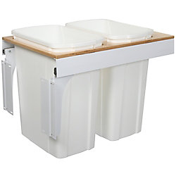 Knape & Vogt Double 35 Quart Bin White Soft-Close Top-Mount Waste and Recycling Unit - 15 Inches Wide - Lid is not Included