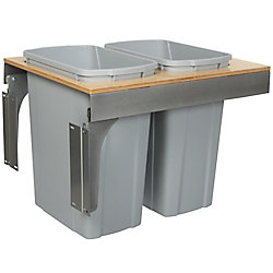 Knape & Vogt Double 35 Quart Bin Platinum Soft-Close Top-Mount Waste and Recycling Unit - 18 Inches Wide - Lid is not Included