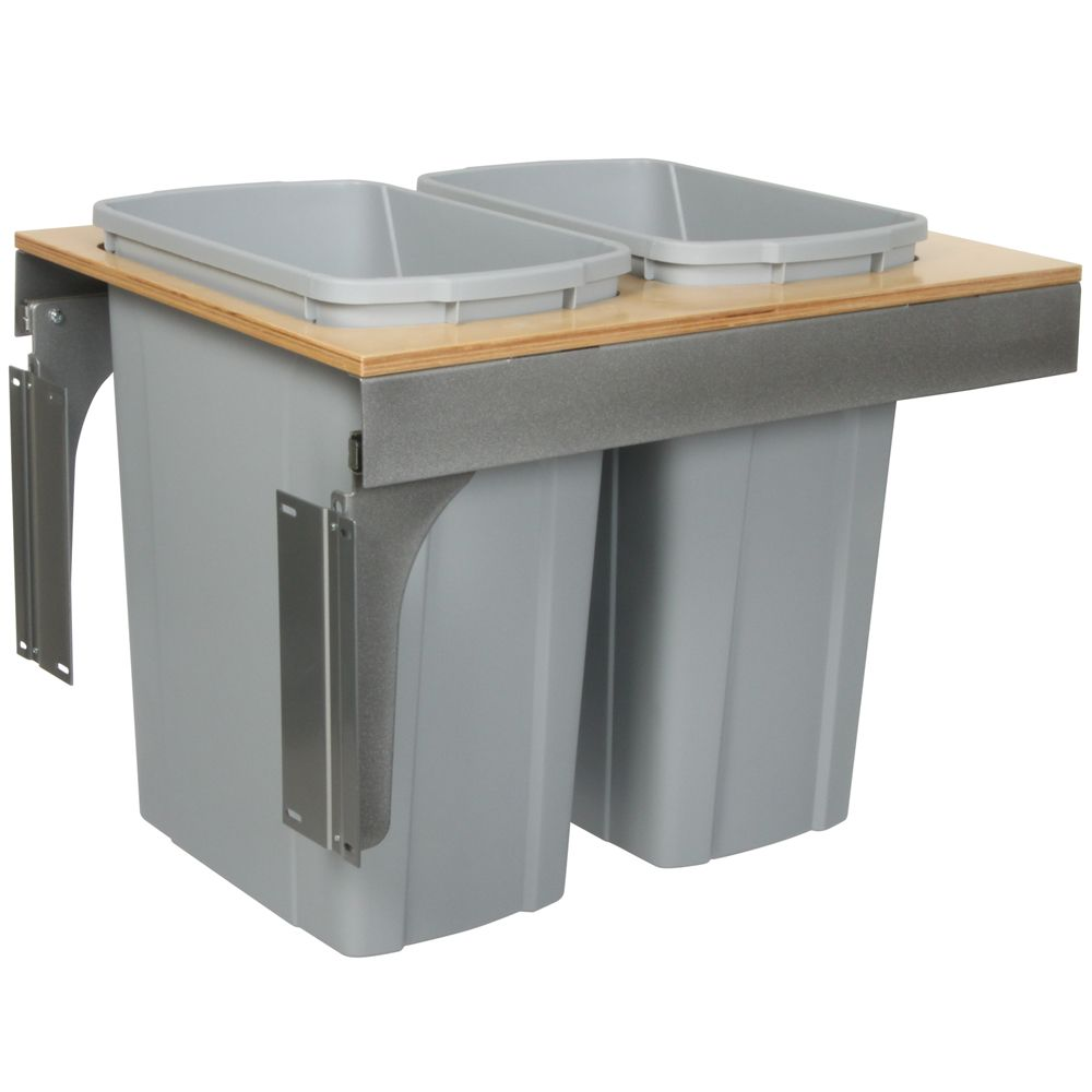 Double 35 Quart Bin Platinum Soft-Close Top-Mount Waste and Recycling Unit - 18 Inches Wide - Lid...