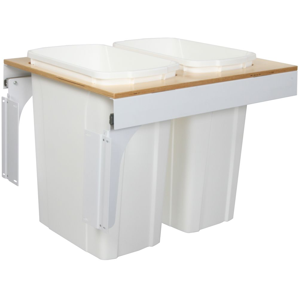 Double 35 Quart Bin White Soft-Close Top-Mount Waste and Recycling Unit - 18 Inches Wide - Lid is not Included