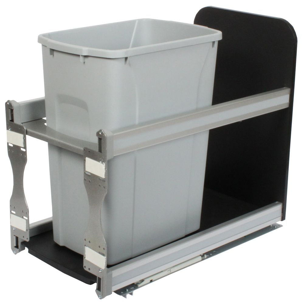 Single 35 Quart Bin Platinum Soft-Close Waste and Recycling Unit - 11.81 Inches Wide - Lid is not Included