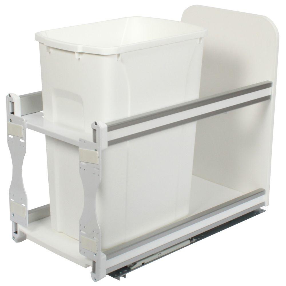 Unité à déchets et à recyclage à un contenant de 33 litres à fermeture douce blanc - 11,81 pouces...
