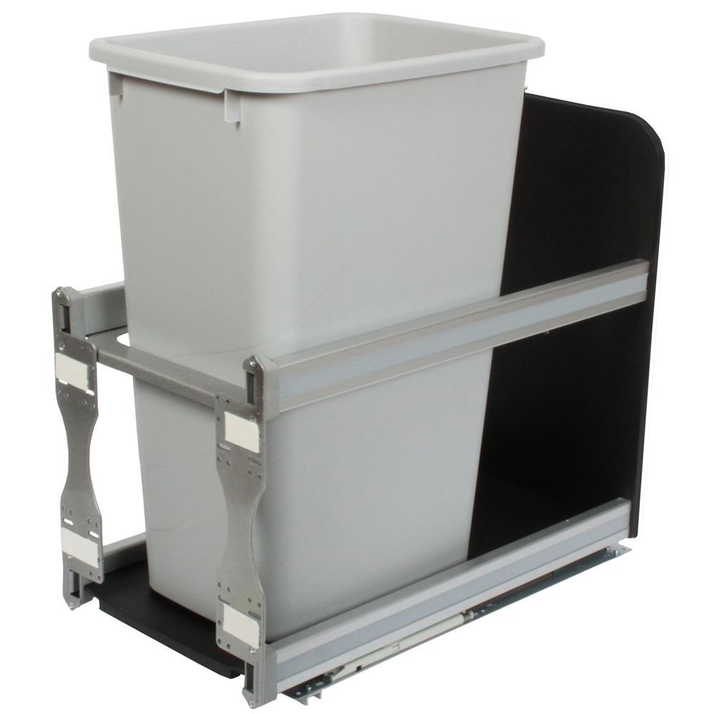 Single 50 Quart Bin Platinum Soft-Close Waste and Recycling Unit - 11.81 Inches Wide - Lid is not...