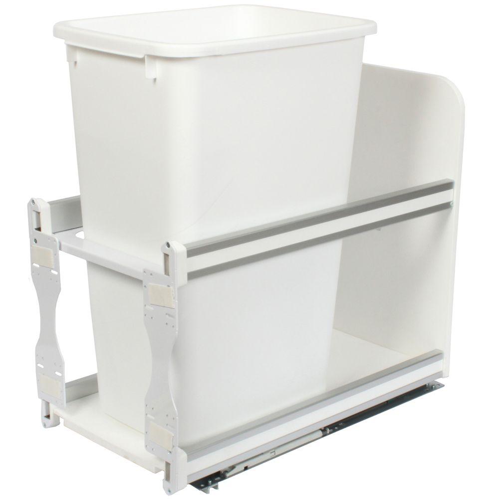 Unité à déchets et à recyclage à un contenant de 47,3 litres à fermeture douce blanc - 11,81 pouc...