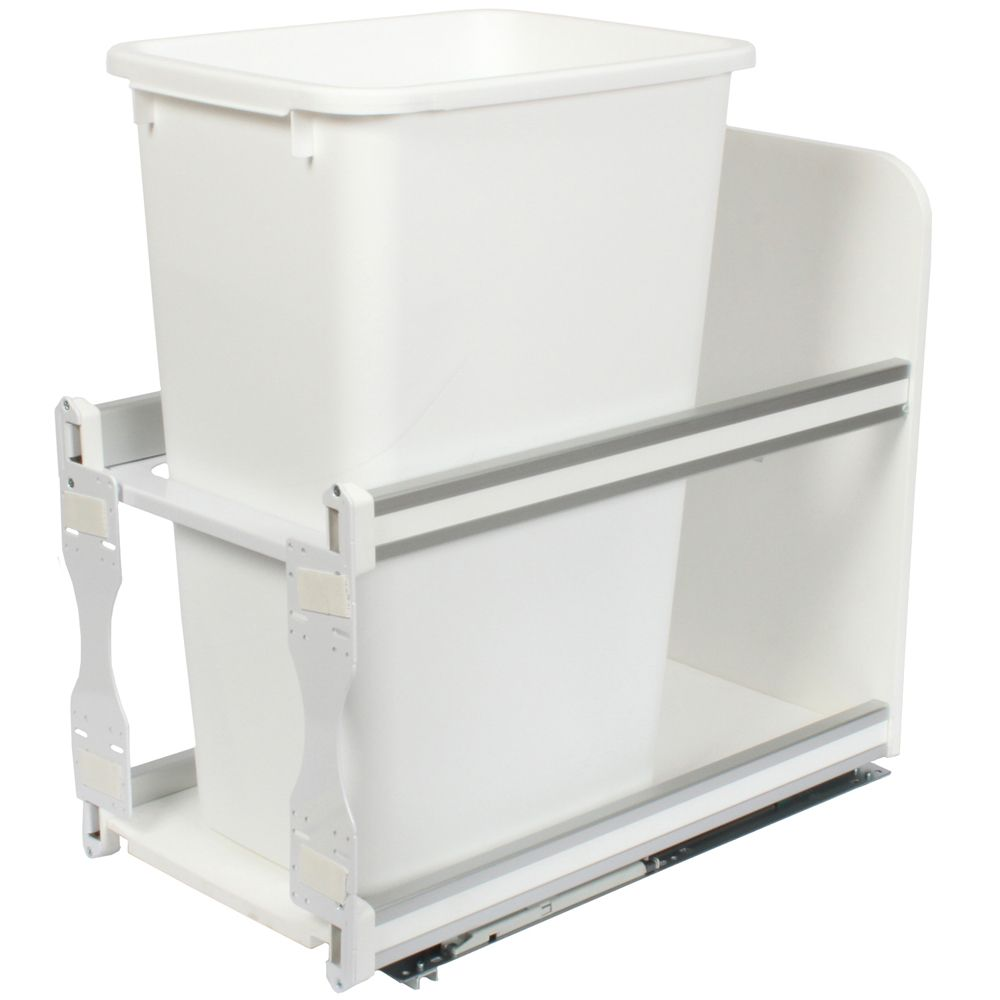 Single 50 Quart Bin White Soft-Close Waste and Recycling Unit - 11.81 Inches Wide - Lid is not In...