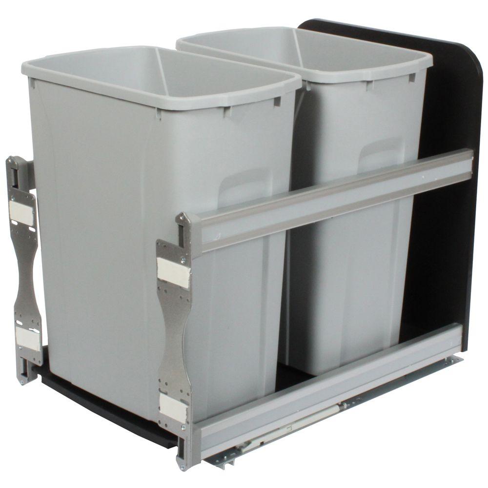 Unité à déchets et à recyclage à deux contenants de 33 litres à fermeture douce platine - 14,81 p...