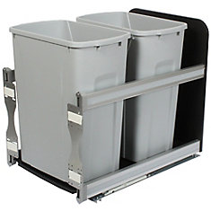 18-inch H x 15-inch W x 22-inch D Plastic In-Cabinet 33.1 L Double Pull-Out Trash Can in Silver