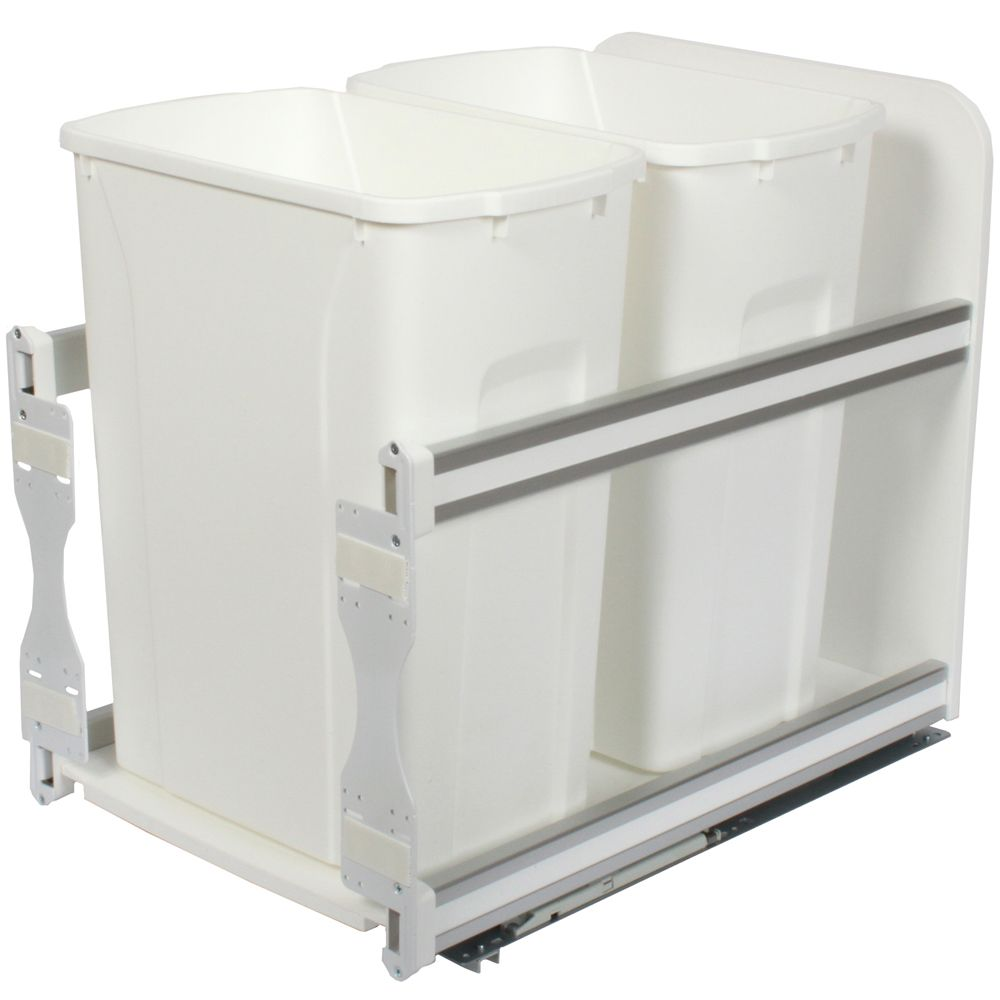 Double 35 Quart Bin White Soft-Close Waste and Recycling Unit - 11.81 Inches Wide - Lid is not In...