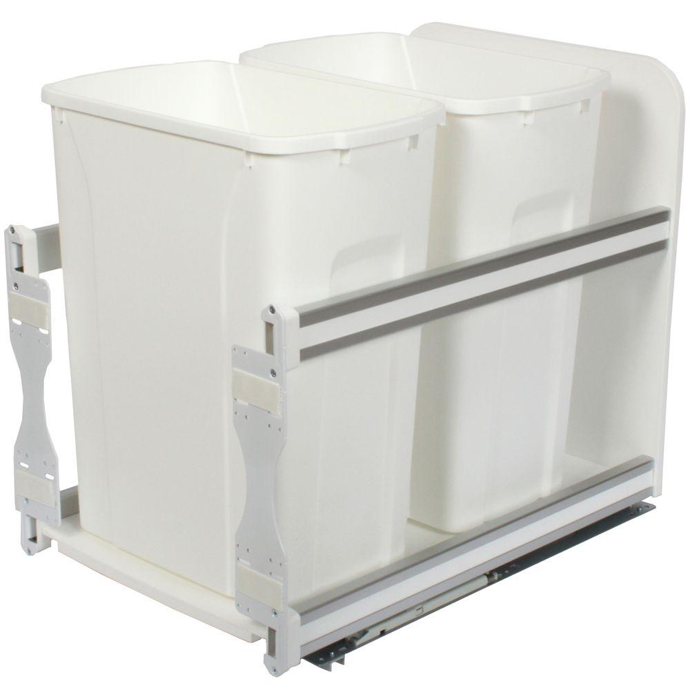 Unité à déchets et à recyclage à deux contenants de 33 litres à fermeture douce blanc - 11,81 pou...