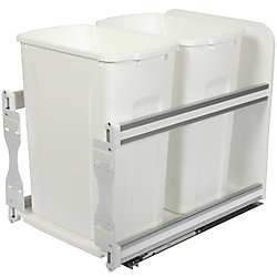 Knape & Vogt 18-inch H x 15-inch W x 22-inch D Plastic In-Cabinet 33.1 L Double Pull-Out Trash Can in White
