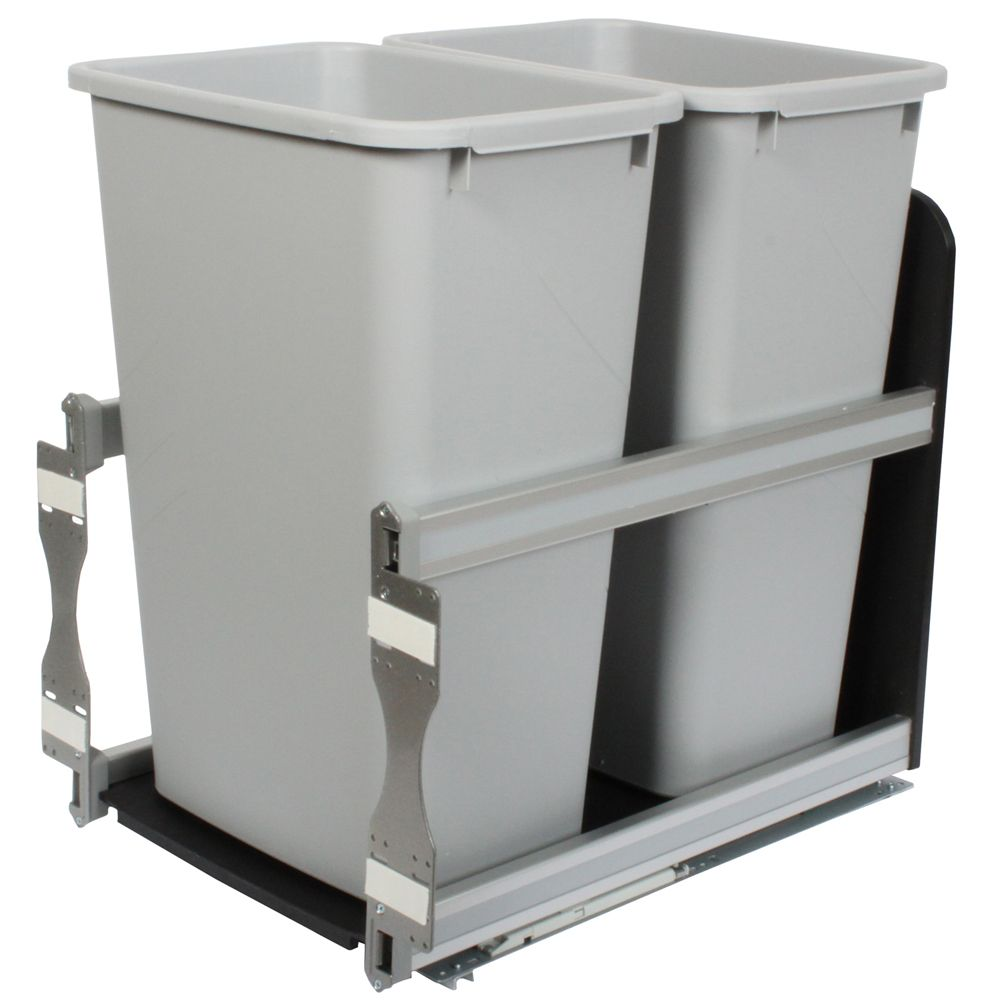 Double 50 Quart Bin Platinum Soft-Close Waste and Recycling Unit - 15.375 Inches Wide - Lid is no...