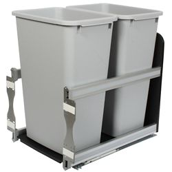 Knape & Vogt Double 50 Quart Bin Platinum Soft-Close Waste and Recycling Unit - 15.375 Inches Wide - Lid is not Included
