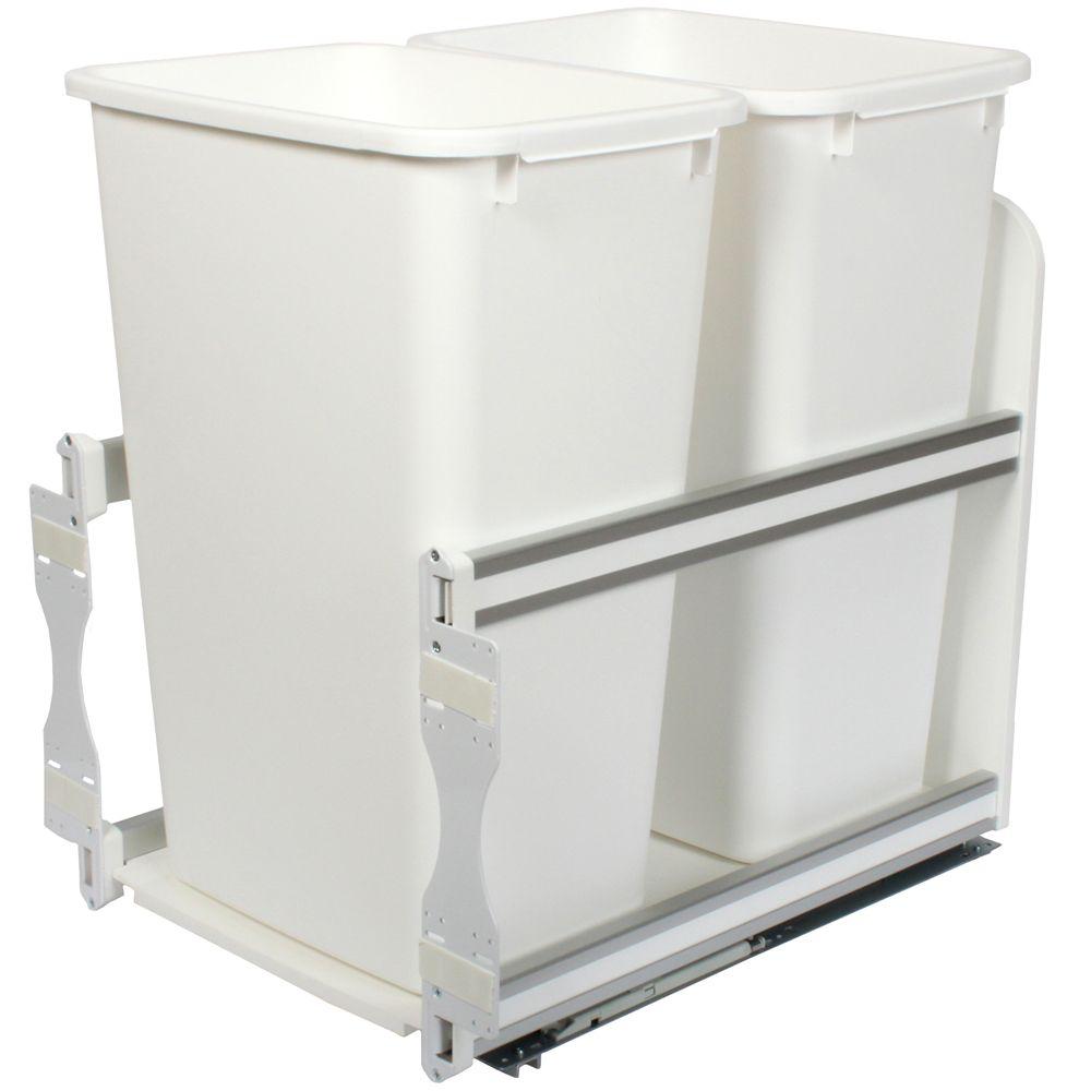 Unité à déchets et à recyclage à un contenant de 47,3 litres à fermeture douce blanc - 15,375 pou...