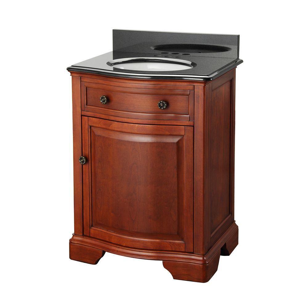 Meuble-lavabo Manchester de 63,50cm (25po) en acajou avec revêtement de meuble-lavabo en granit...